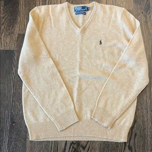 Men's Tan v-neck sweater by Polo by Ralph Lauren